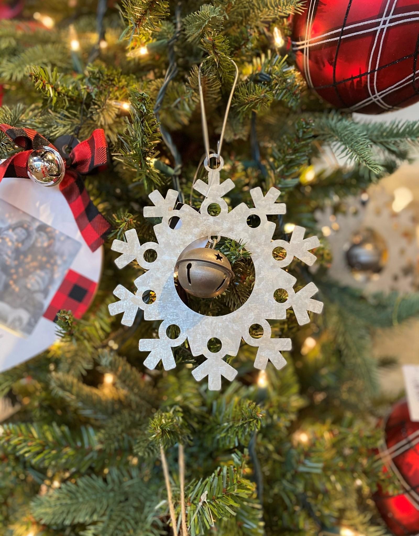 K & K Interiors Galvanized Snowflake Ornament w/ Jingle Bell