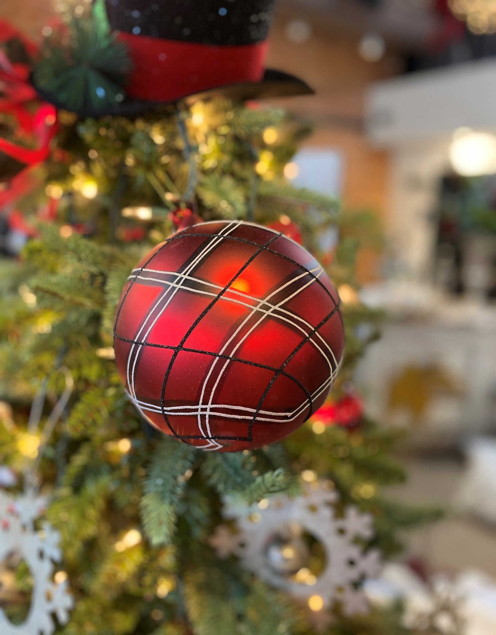 """K & K Interiors 6"""" Red, Black & White Plaid Glass Round Ornament"""