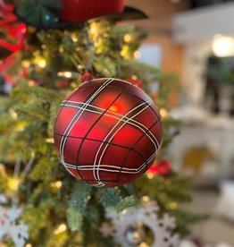 "K & K Interiors 6"" Red, Black & White Plaid Glass Round Ornament"