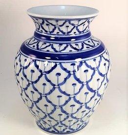 Sea Island Imports Blue/White Incised Flower Vase