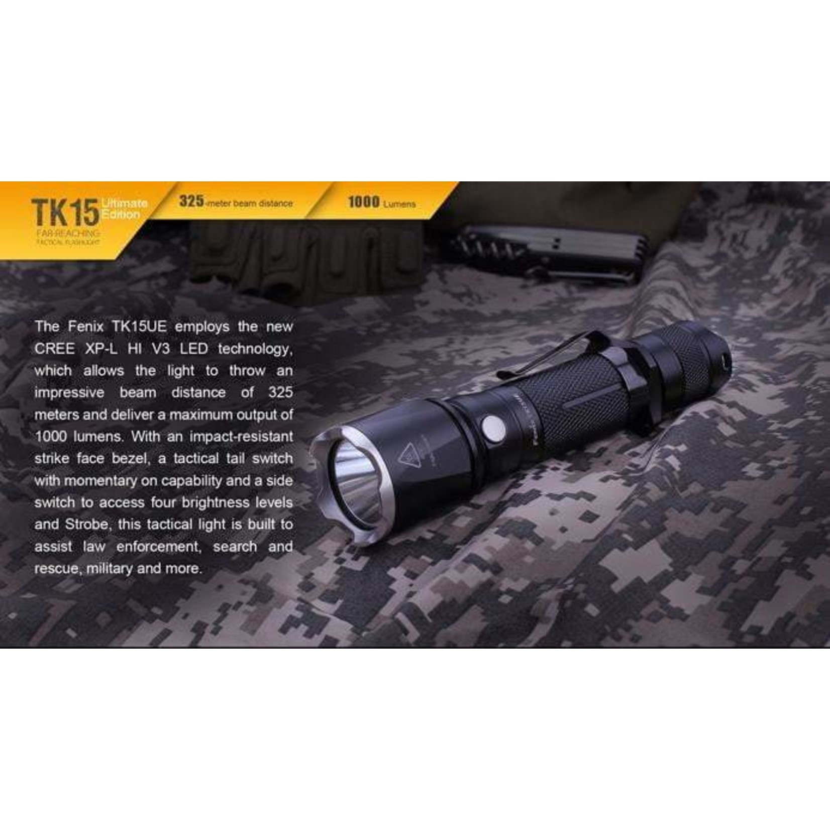 FENIX LIGHT TK15UE FLASHLIGHT – BLACK