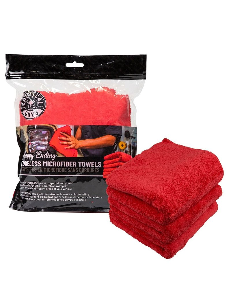 "Chemical Guys Happy Ending Ultra Plush Edgeless Microfiber Towel, Red 16"" x 16"" (3 Pack)"