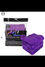 "Chemical Guys Happy Ending Ultra Plush Edgeless Microfiber Towel, Purple 16"" x 16"" (3 Pack)"