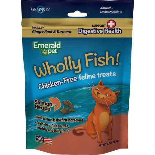 Emerald Pet Feline Premios Wholly Fish Digestive Health Salmón 3 oz