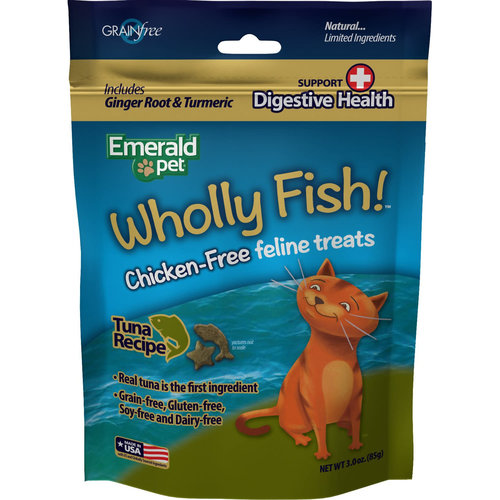 Emerald Pet Feline Premios Wholly Fish Digestive Health Atún 3 oz