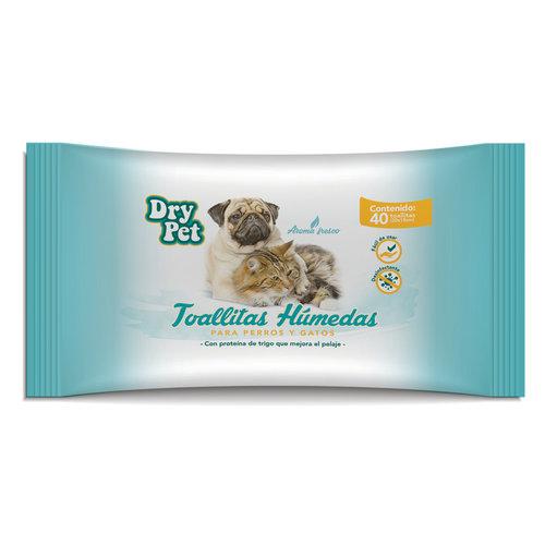 Dry Pet Toallitas Humedas p/perro y gato 40 Pza