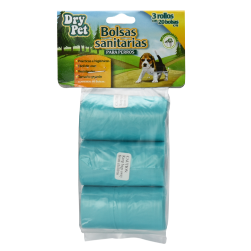 Dry Pet Bolsas Sanitarias (3 rollos) 60 Pza