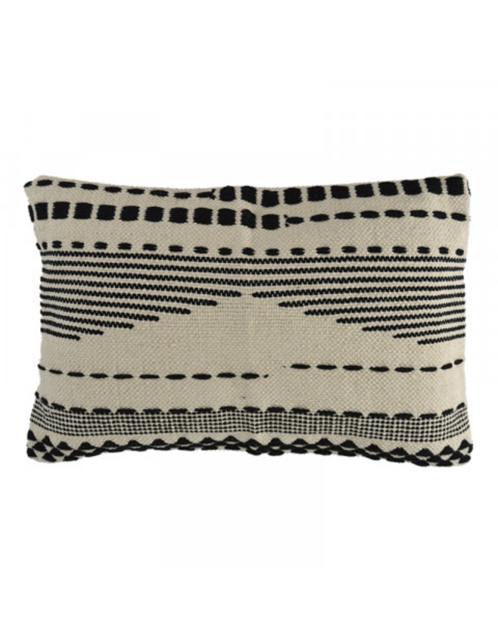 Black Stripe Fringed Cushion 40 x 60