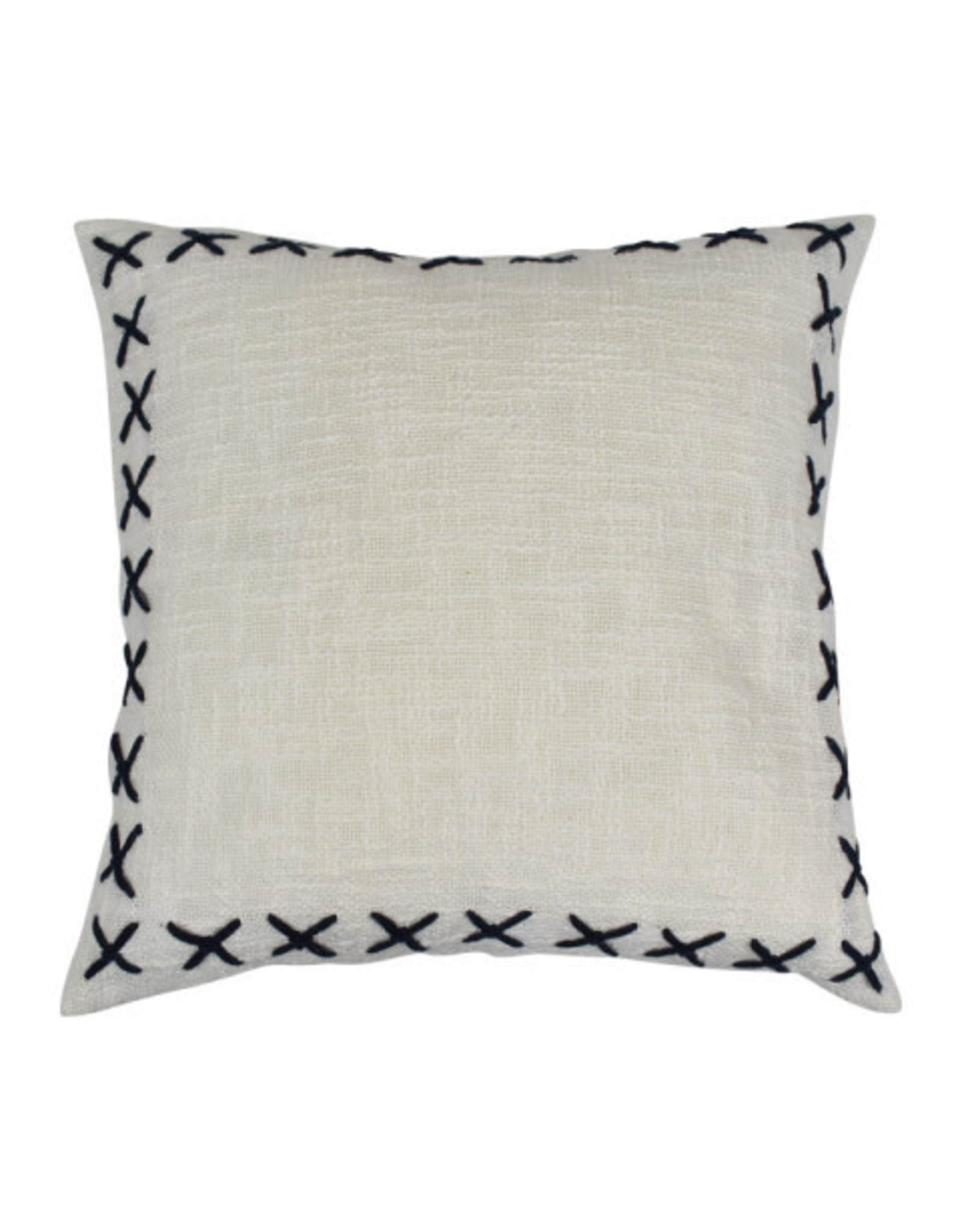 Stitch Cotton Cushion 50 x 50cm White & Navy