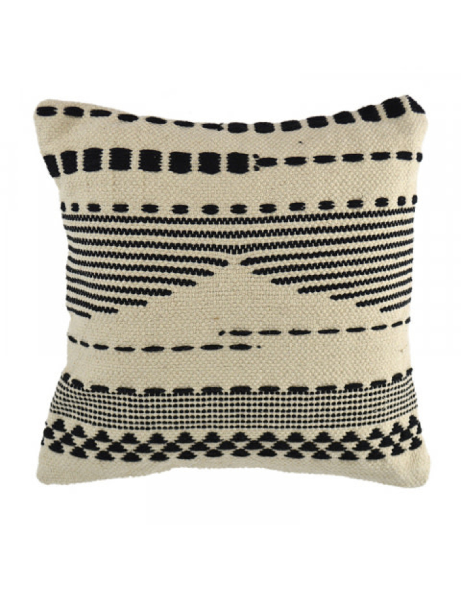Black Striped Fringed Cushion 45cm