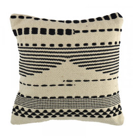 Black Striped Fringed Cushion 45cm