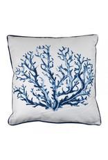 Coral Alfresco Cushion 45 x 45cm White & Blue