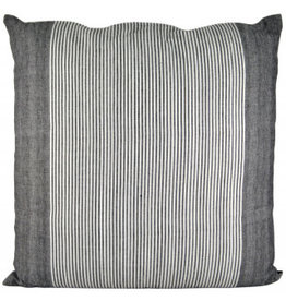 Large Charcoal Cotton Pinstripe Cushion