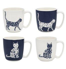 Ecology walking cats set of 4 mugs
