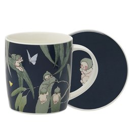 Ecology May Gibbs Mug & Coaster Set Gumnut Babies Inky Blue