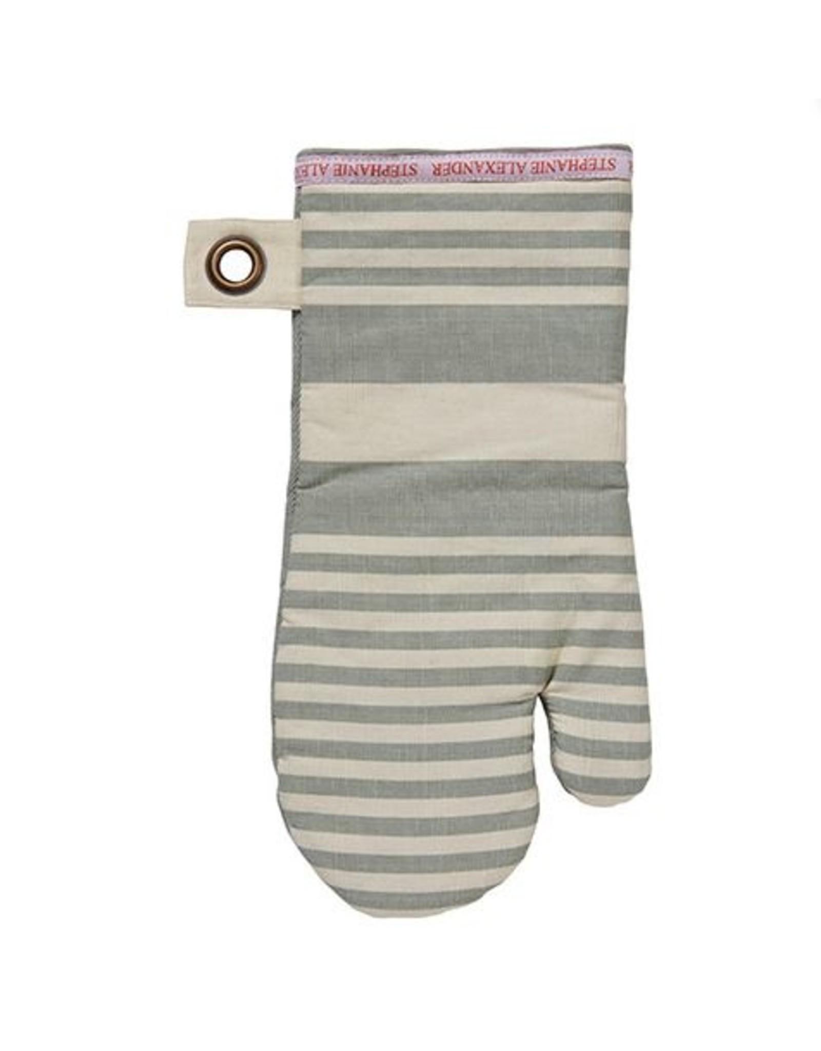 Stephanie Alexander Sage & Cream Striped Oven Glove 18x35cm