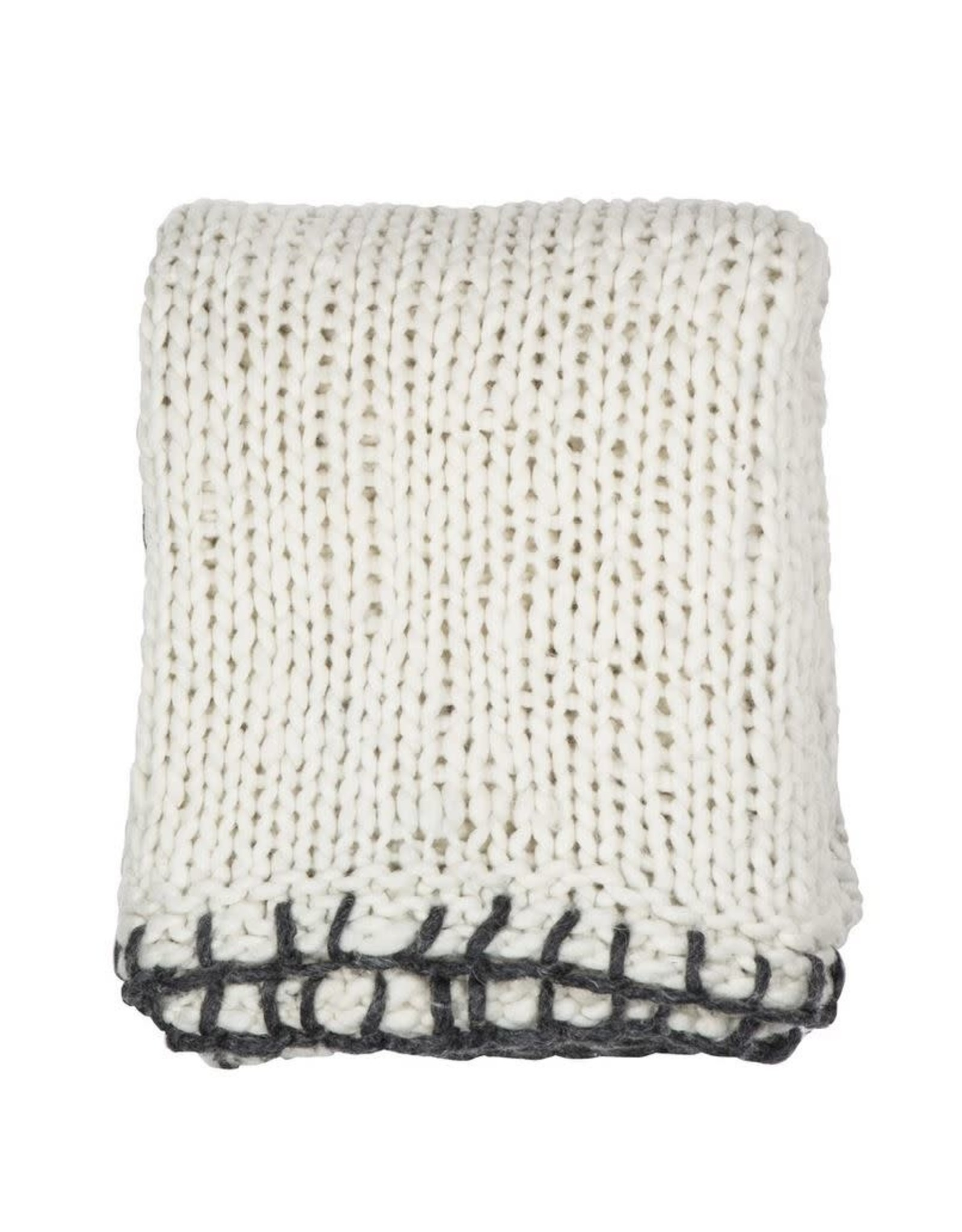 Amalfi Clifford Throw Knitted with Blanket Stitch