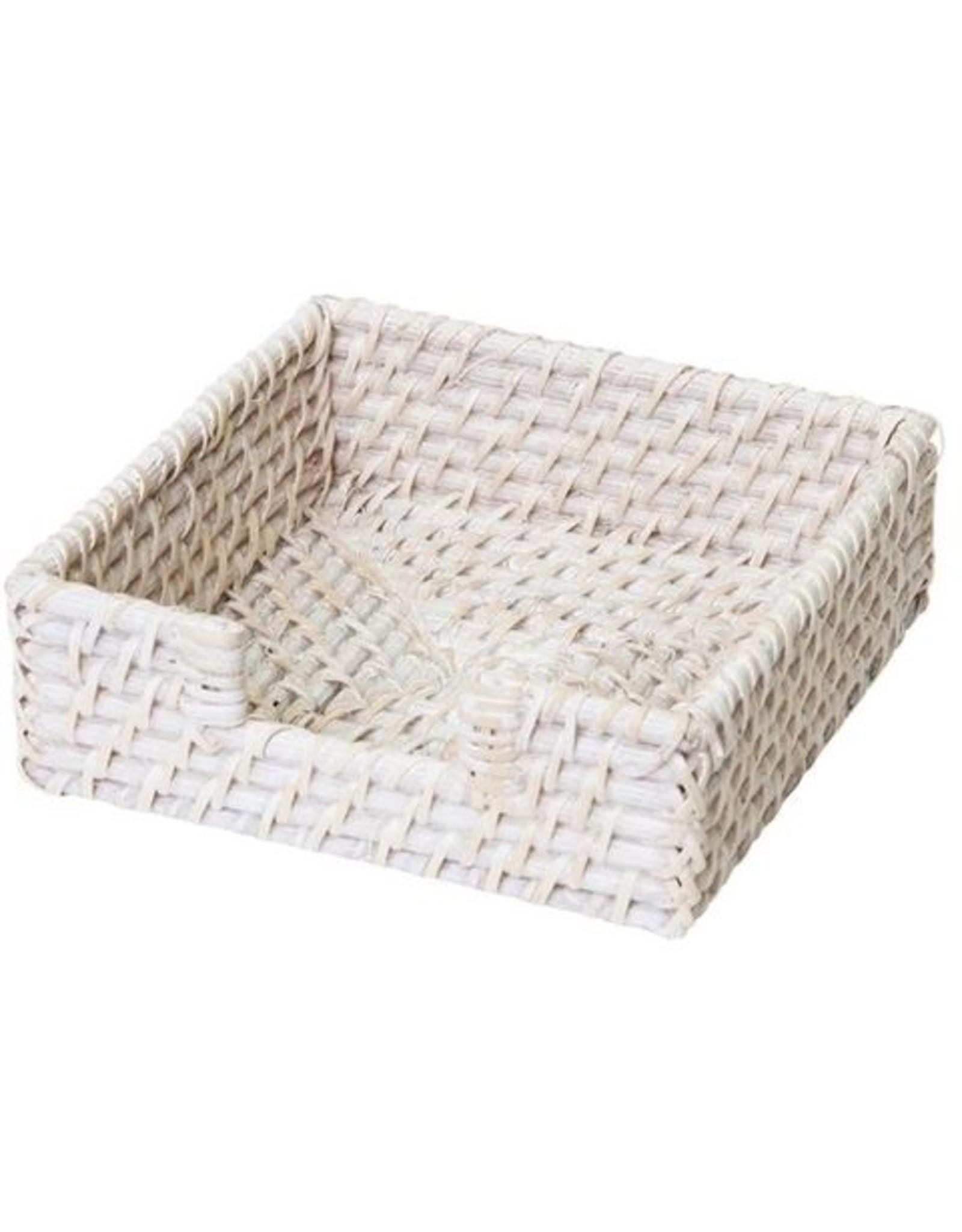 Pacifica Rattan Napkin Holder Square 18cm White Wash
