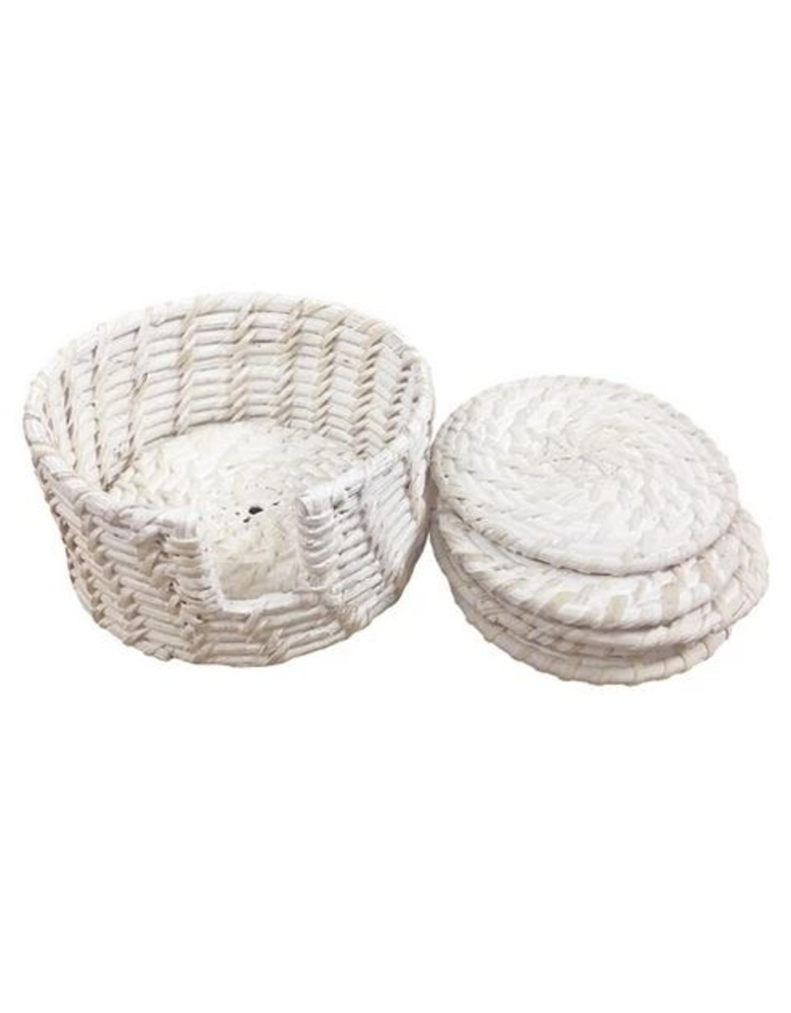Pacifica Rattan Coaster Set of 6 Dia=12,H-6 ,Dia=10 White Wash