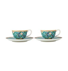 Kasbah Pair of Demitasse Cups & Saucers Mint