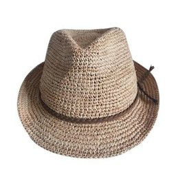Womens Hand Crochet Rafia Straw Hat Small Brim