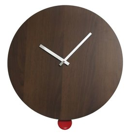 Degree Degree Dark Timber 40cm Clock with Red Pendulum