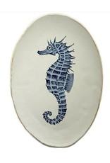 Oceana Seahorse Cer Plate 35x40cm Wht/Bl