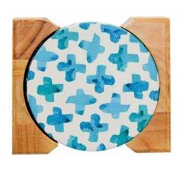 Set of 4 Ceramic Coastal Inspired Coasters