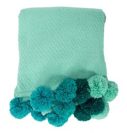 Aqua Pom Pom Throw
