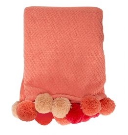Coral Pom Pom Throw