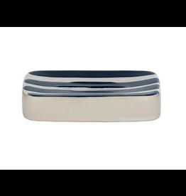 Hastings Ceramic Soap Dish 9x12.5cm Wht/Navy