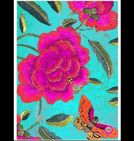 Anna Chandler Design Tea Towel – Big Peony Turquoise