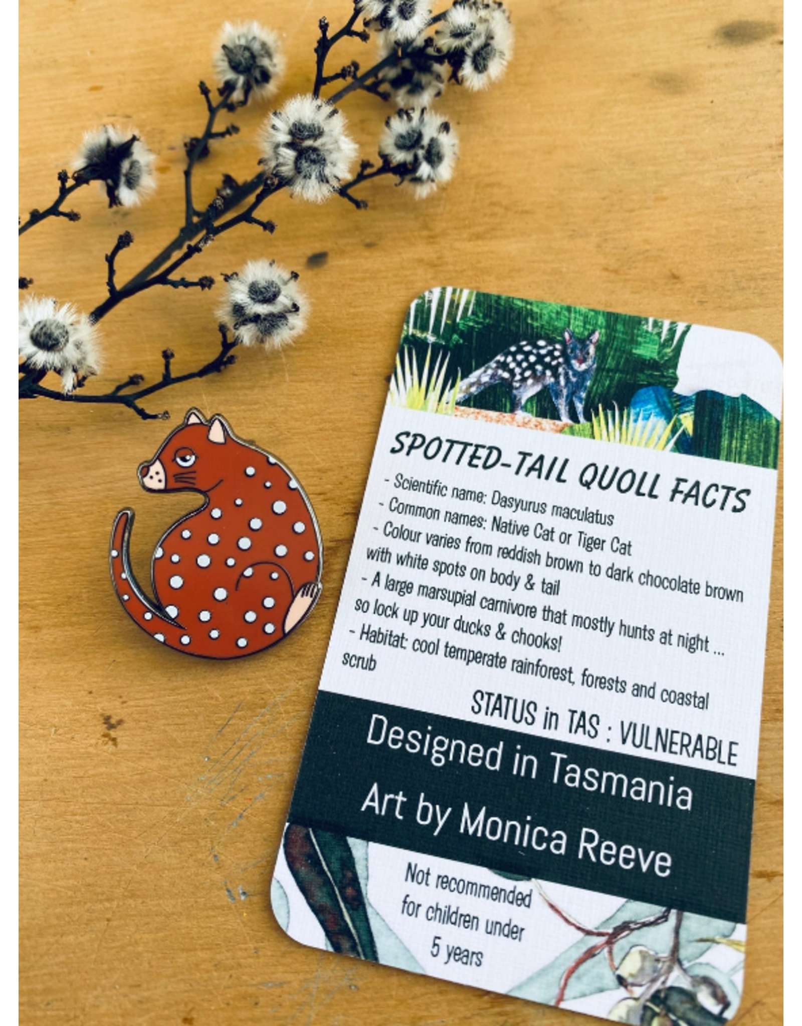 Rust Red Spotted Quoll Marsupial Tasmania Icons Collection Pigment Pins