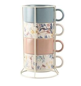 Amalfi Woodend Mug Set with Stand 5pce