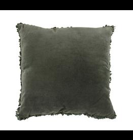 Maci Velvet Ruffle Edge Cushion - Deep Sage