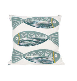 Finley 3 Fish Embroided Cushion