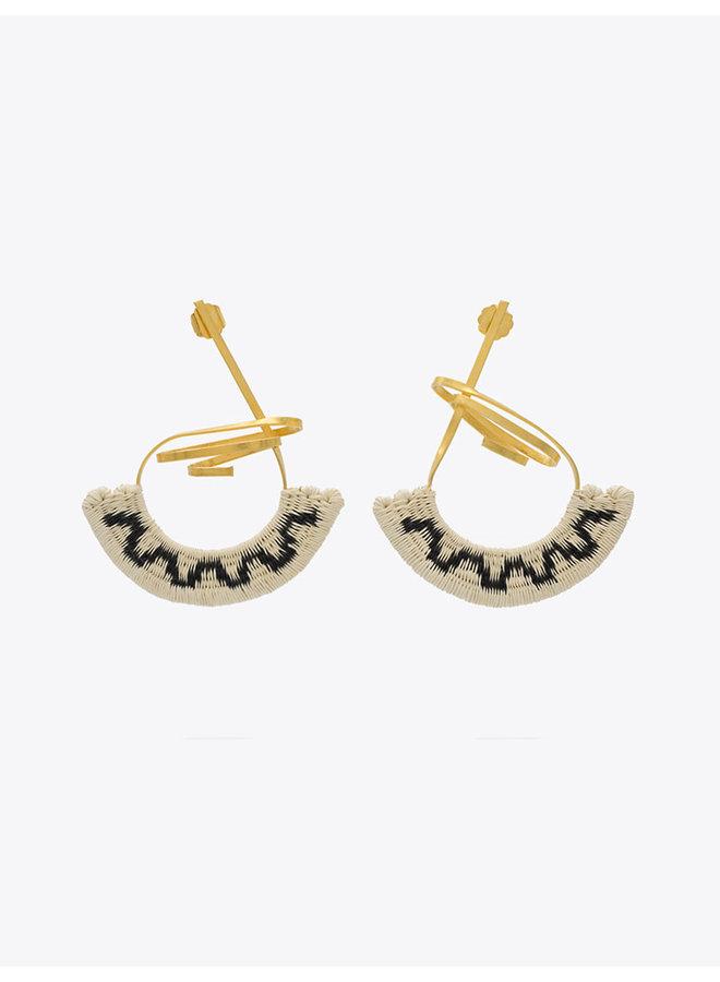Ocharjo Abanico Earrings in Beige