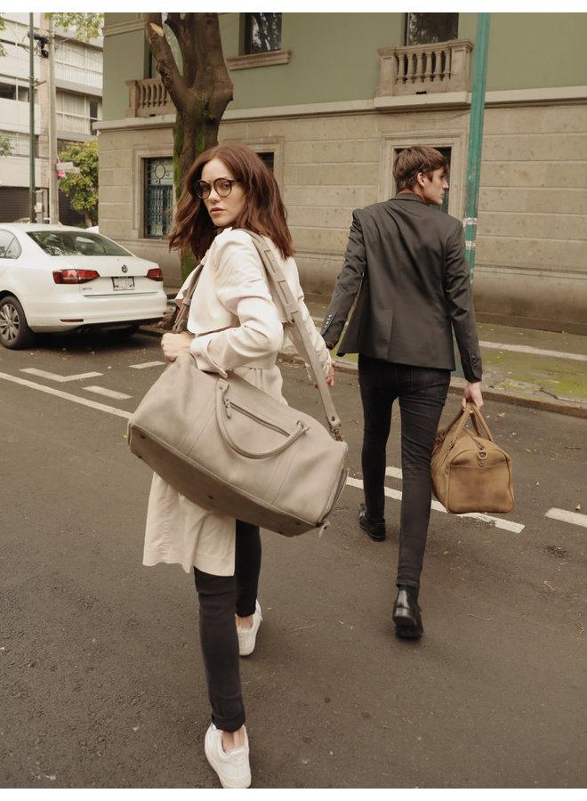 Leather Weekender Bag in Grey