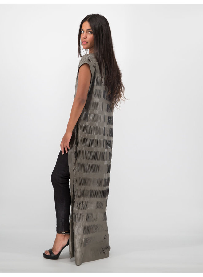 Maxi Leather Vest in Gray