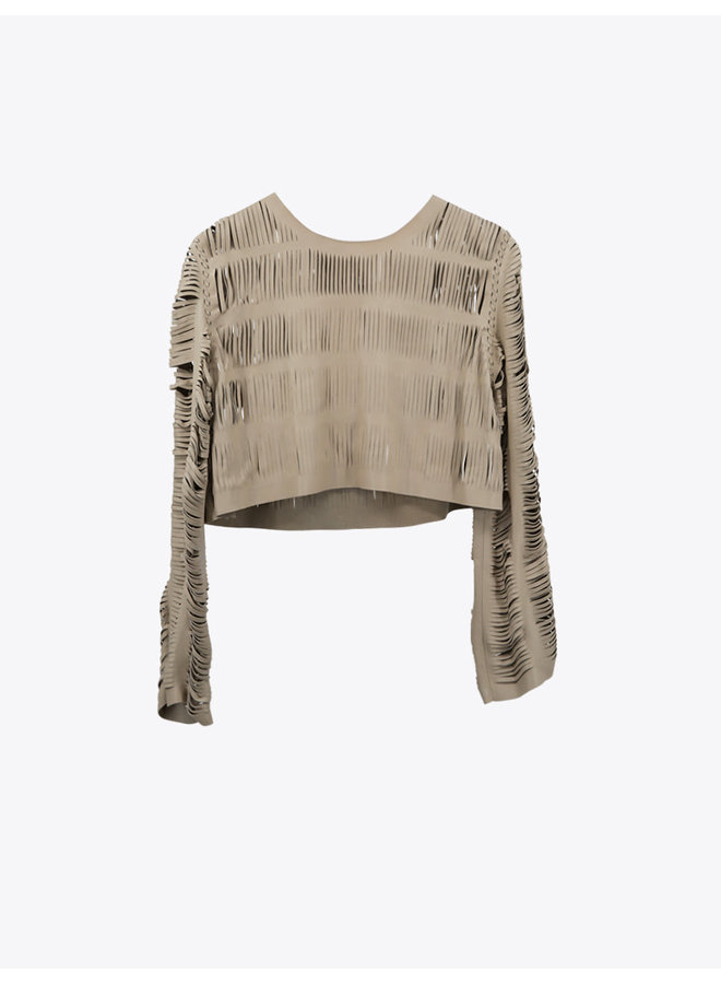 Leather  Sweater with String Cuts in Natural Bone