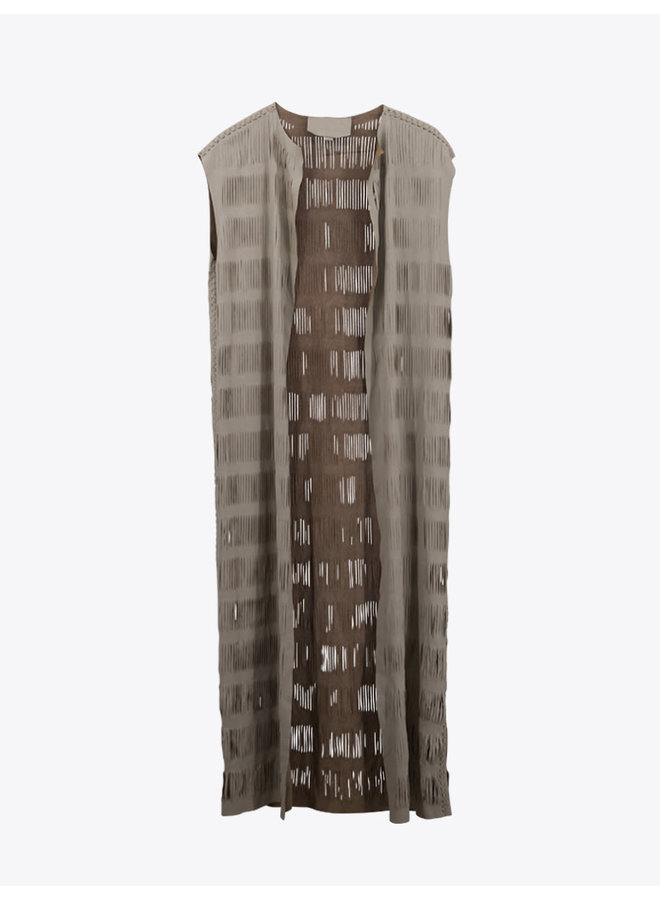 Maxi Leather Vest in Beige