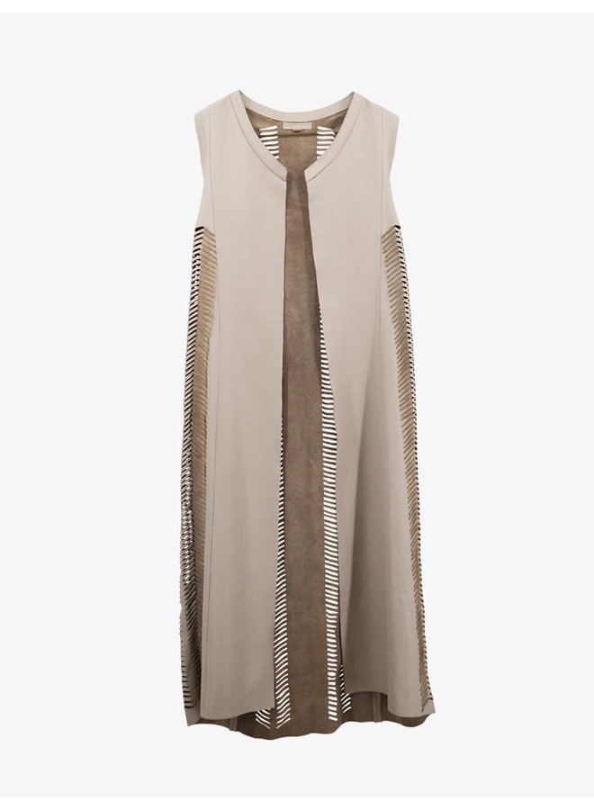 Fishscale Leather Vest in Beige