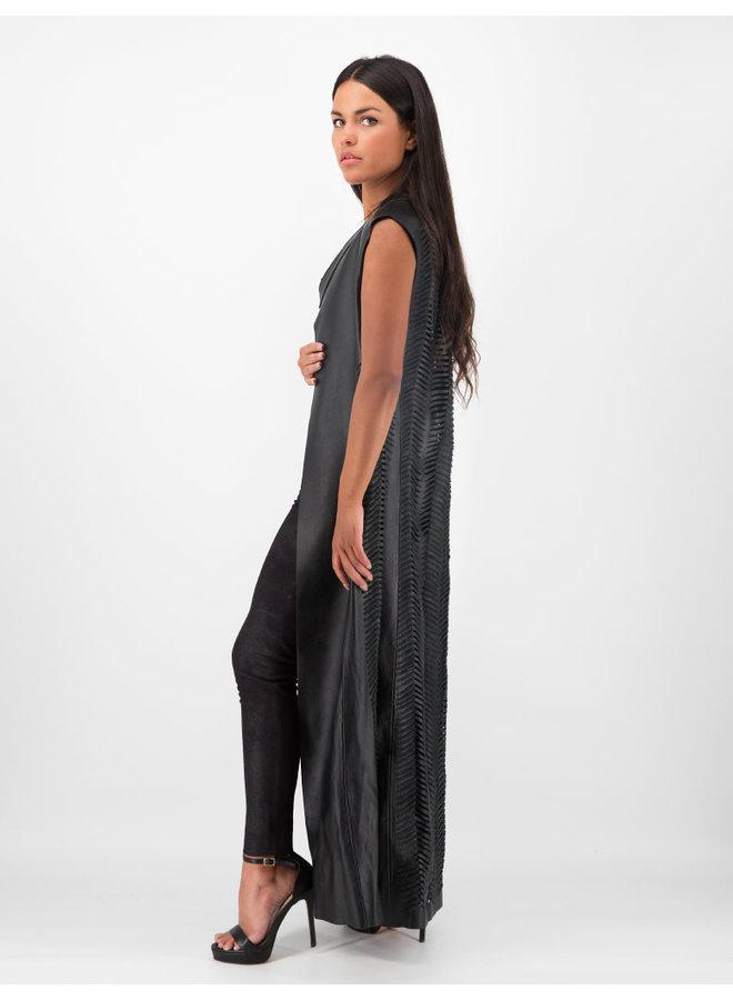 Fishscale Leather Vest in Black