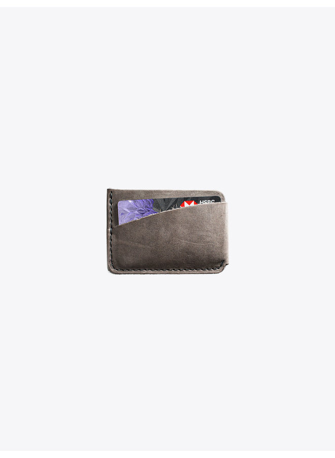 Leather Card Holder in Gray
