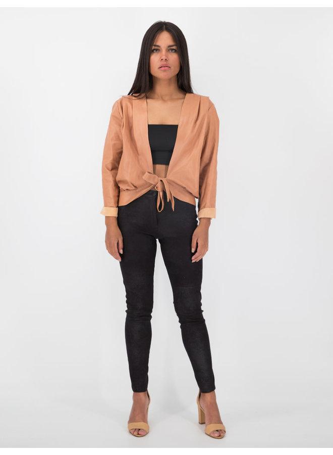 Cropped Wrap Leather Jacket