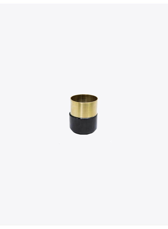 Black Marble Brass Candle Holder