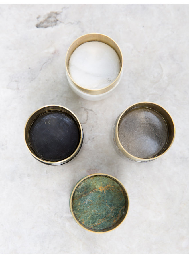 Laton Marble Candleholder in Black