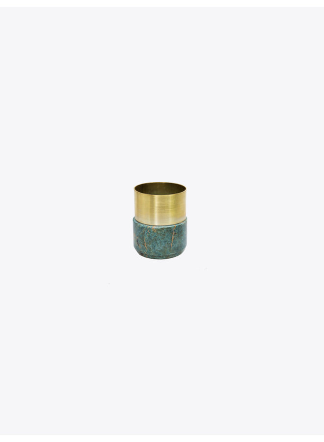 Green Marble Brass Candle Holder
