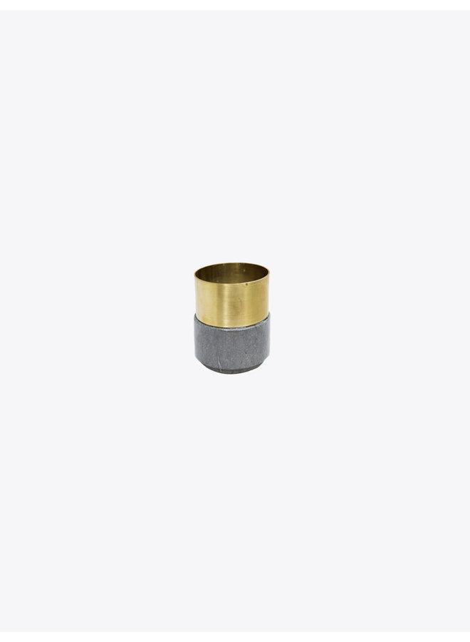 Laton Marble Candleholder in Grey