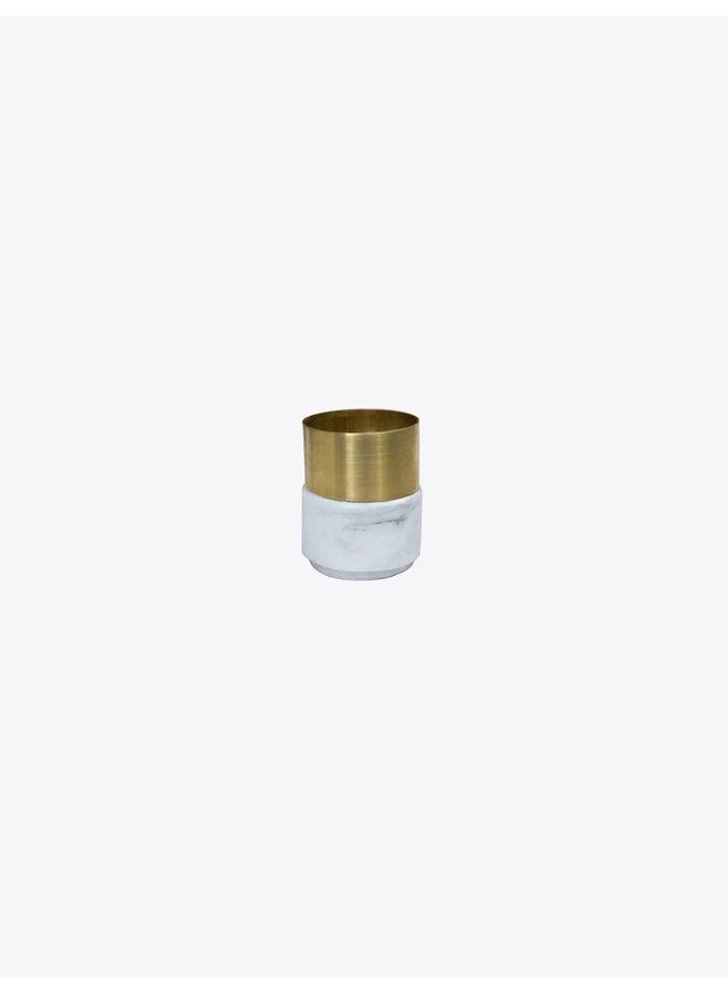 Laton Marble Candleholder in White